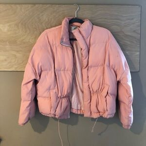 urban outfitters puffer jacket pink